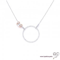 Collier cercle diamanté sur une chaîne en argent 925, avec les rondelles en plaqué or et argent, ras de cou, création by Alicia