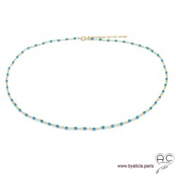 Collier fin avec turquoise reconstituée sur une chaîne en plaqué or, ras de cou, création by Alicia