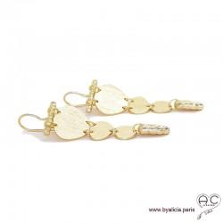 Boucles d'oreilles avec cascade de pastilles en plaqué or brossé, longues, pendantes, tendance, femme