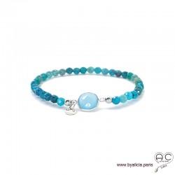 Bracelet calcédoine bleu et apatite, pierres fines, pampille argent 925, femme, gipsy, bohème, création by Alicia