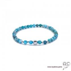 Bracelet apatite bleu et argent 925 rhodié, pierre naturelle, femme, gipsy, bohème, création by Alicia