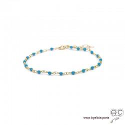 Bracelet fin avec turquoise reconstituée sur une chaîne en argent 925 doré à l'or fin, création by Alicia