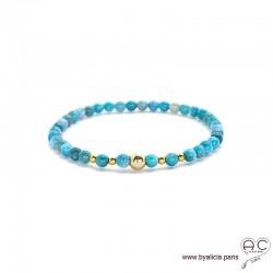 Bracelet apatite bleu et plaqué or, pierre naturelle, femme, gipsy, bohème, création by Alicia