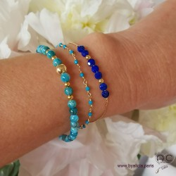 Bracelets pierres fines bleues, création by Alicia