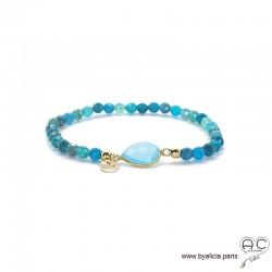 Bracelet calcédoine bleu et apatite, pierres fines, pampille en plaqué or martelé, femme, gipsy, bohème, création by Alicia