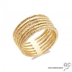 Bague avec anneaux multiples fins en plaqué or diamanté, femme, intemporelle