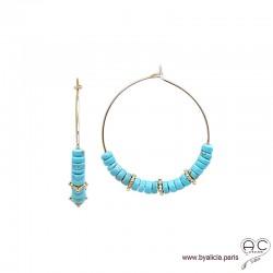 Créoles avec turquoise reconstituée et rondelles perlées en plaqué or, boucles d'oreilles, pierre fine, création by Alicia