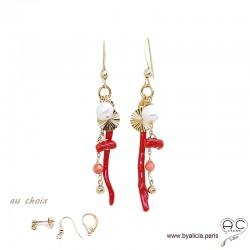 Boucles d'oreilles pampilles en corail véritable, perle de culture d'eau douce, médaille soleil, plaqué or, création by Alicia