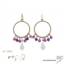 Boucles d'oreilles anneaux diamantées avec pampilles, quartz rose, tourmaline, plaqué or, pierres fines, création by Alicia
