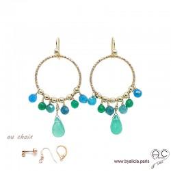 Boucles d'oreilles anneaux diamantées avec pampilles en agate verte et apatite, plaqué or, pierres fines, création by Alicia