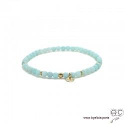 Bracelet en amazonite avec pampille médaille en plaqué or, pierres fines, femme, gipsy, bohème, création by Alicia