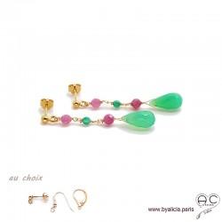 Boucles d'oreilles chrysoprase et tourmaline rose, cascade de pierres fines, plaqué or, longues, pendantes, création by Alicia