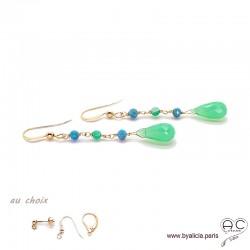 Boucles d'oreilles chrysoprase et apatite, cascade de pierres fines, plaqué or, longues, pendantes, création by Alicia