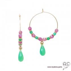 Créoles avec tourmaline rose et pampille en chrysoprase verte, plaqué or, pierre fine, boucles d'oreilles, création by Alicia
