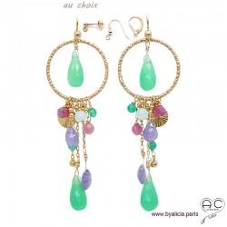 Boucles d'oreilles anneaux diamantées avec pampilles en chrysoprase, tanzanite, tourmaline, plaqué or, création by Alicia