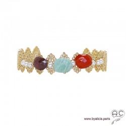 Bracelet jonc ouvert, dentelle en plaqué or avec pierres fines et perles de culture d'eau douce, chic, femme