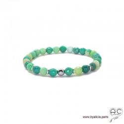Bracelet agate verte et argent 925 rhodié, pierre naturelle, femme, gipsy, bohème, création by Alicia