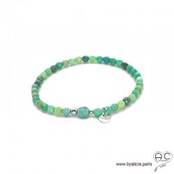 Bracelet agate verte, pierre naturelle, pampille médaille en argent 925, élastique, création by Alicia