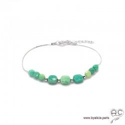 Bracelet fin avec agate verte sur une chaîne en argent 925 rhodié, pierre naturelle, création by Alicia