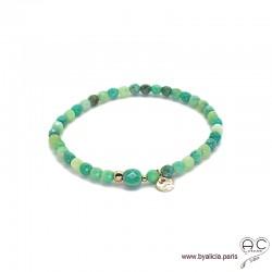 Bracelet agate verte, pierre naturelle, pampille médaille en plaqué or, élastique, création by Alicia