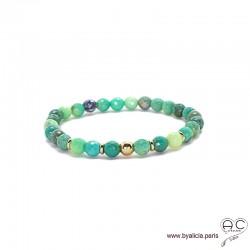 Bracelet agate verte et plaqué or, pierre naturelle, femme, gipsy, bohème, création by Alicia