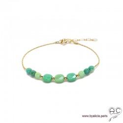 Bracelet fin avec agate verte sur une chaîne en plaqué or, pierre naturelle, création by Alicia