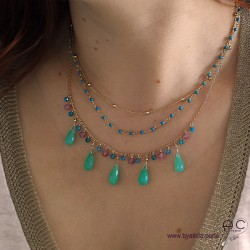 Collier chrysoprase, tourmaline, apatite, pampilles pierres fines, création by Alicia