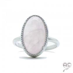 Bague avec quartz rose en cabochon, ovale, pierre semi-précieuse, argent 925 rodhié, femme