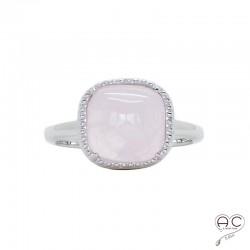 Bague avec quartz rose en cabochon, carrée, pierre semi-précieuse, argent 925 rhodié, femme