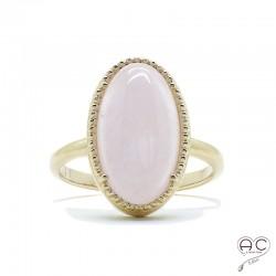 Bague avec quartz rose en cabochon, ovale, pierre semi-précieuse, plaqué or, femme