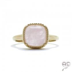 Bague avec quartz rose en cabochon, carrée, pierre semi-précieuse, plaqé or, femme