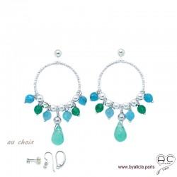 Boucles d'oreilles anneaux diamantées avec pampilles en agate verte et apatite, argent massif, pierres fines, création by Alicia