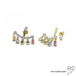 Boucles d'oreilles contours dessous lobes avec pampilles en zirconiums multicouleurs, plaqué or