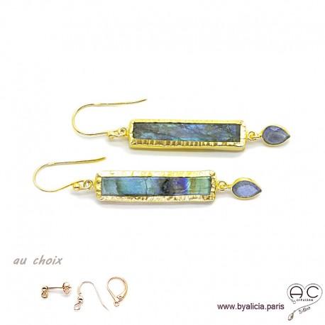 Boucles d'oreilles en labradorite, longues barrettes avec pampille, argent massif doré à l'or fin 18K, pendantes, uniques