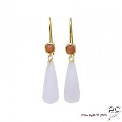 Boucles d'oreilles avec longues gouttes en quartz rose et aventurine pêche, argent massif doré à l'or fin 18K, pendantes