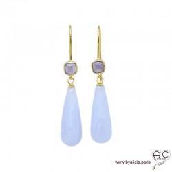 Boucles d'oreilles avec longues gouttes en calcédoine bleue et améthyste, argent massif doré à l'or fin 18K, pendantes