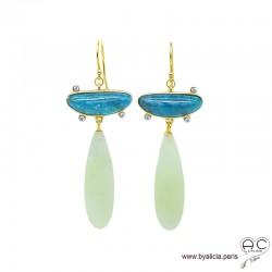 Boucles d'oreilles longues gouttes en new jade et demi-lune en apatite, argent massif doré à l'or fin 18K, pendantes, uniques