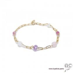 Bracelet quartz rose, améthyste, pierres fines parsemées sur une chaîne en plaqué or, création by Alicia
