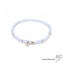Bracelet en calcédoine bleue avec pampille médaille en plaqué or, pierres fines, femme, gipsy, bohème, création by Alicia