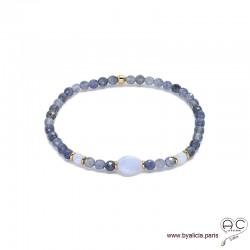 Bracelet en saphir d'eau et calcédoine bleue avec pampille médaille en plaqué or, pierres fines, femme, création by Alicia