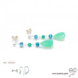 Boucles d'oreilles chrysoprase et apatite, cascade de pierres fines, argent massif 925, longues, pendantes, création by Alicia