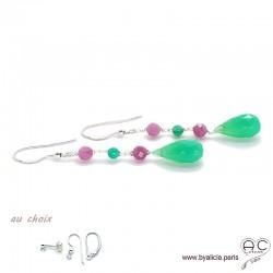 Boucles d'oreilles chrysoprase et tourmaline rose, cascade de pierres fines, argent massif, pendantes, création by Alicia