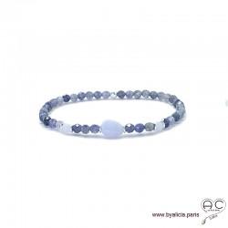 Bracelet en saphir d'eau et calcédoine bleue avec pampille médaille en argent massif 925, pierres fines, création by Alicia