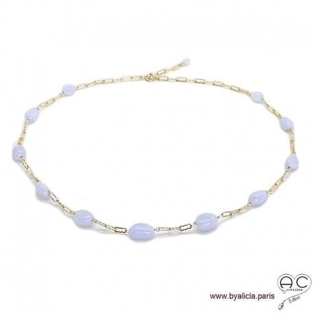 Collier calcédoine bleue parsemées sur une chaîne en plaqué or, pierres fines, création by Alicia