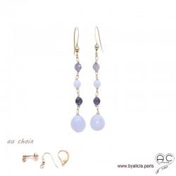 Boucles d'oreilles calcédoine bleue et saphir d'eau, cascade de pierres fines, plaqué or, longues, pendantes, création by Alicia