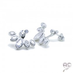 Boucles d'oreilles contours dessous lobes serties de zirconium brillant en argent 925 rhodié, femme