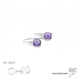 Boucles d'oreilles améthyste et argent massif 925, pierre naturelle, pendantes, création by Alicia