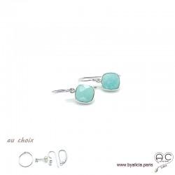 Boucles d'oreilles amazonite et argent massif 925, pierre naturelle, pendantes, création by Alicia