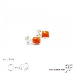 Boucles d'oreilles cornaline et argent massif 925, pierre naturelle, pendantes, création by Alicia