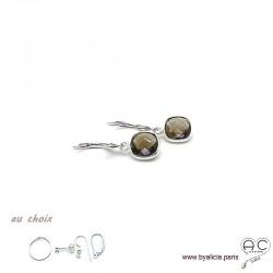 Boucles d'oreilles quartz fumé et argent massif 925, pierre naturelle, pendantes, création by Alicia
